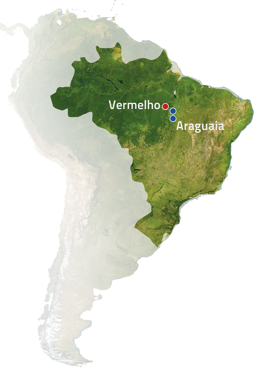 Araguaia and Vermelho nickel project locations, Brazil